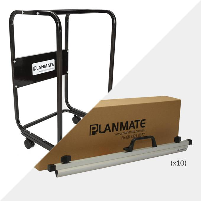 Planmate A1 MAXI Plan Trolley and 10x A1 Plan Clamps ( PMB4 )